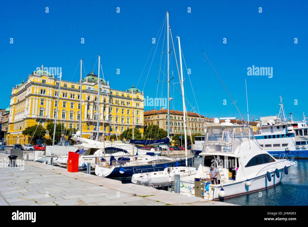 Private boats, harbour, at Riva seaside street, Rijeka, Kvarner Bay, Croatia - Stock Image