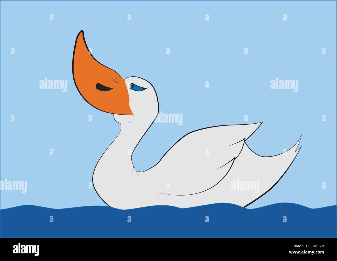 Swimming big beak duck, T-shirt Vector Graphics - Stock Vector