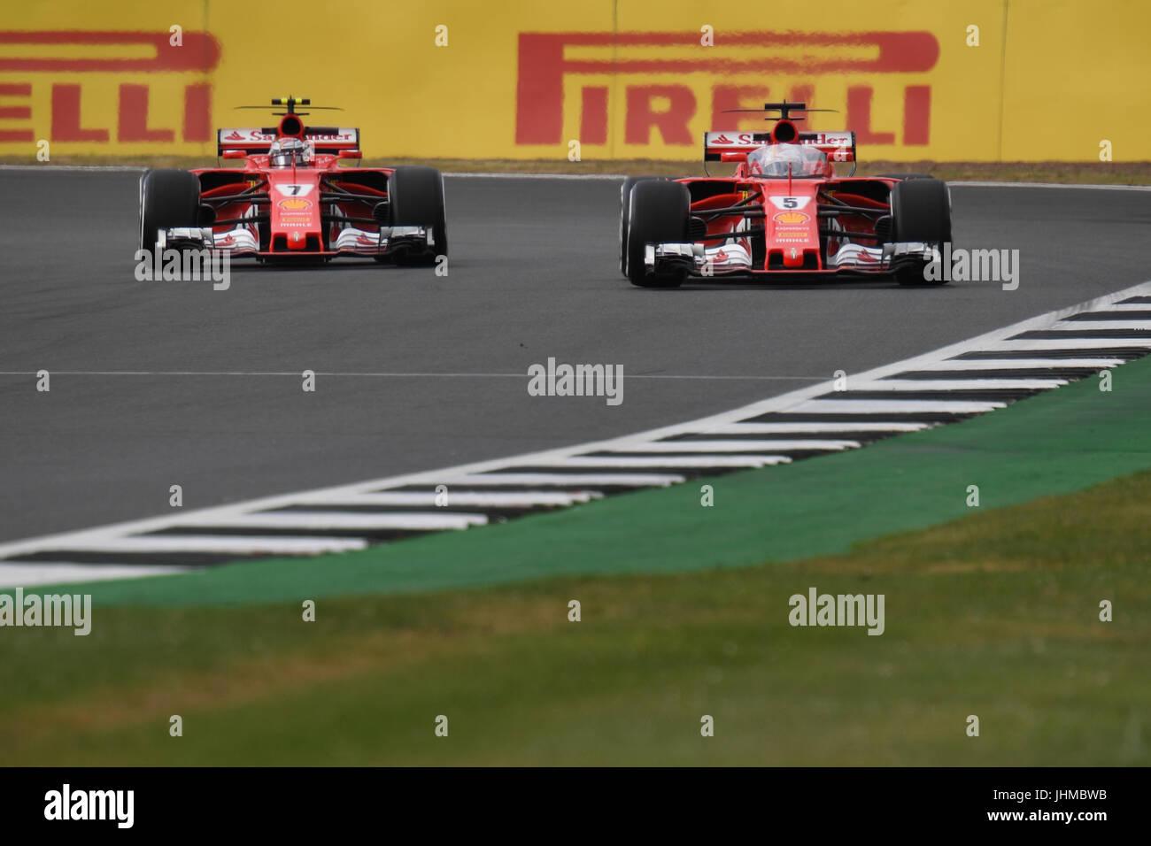 Silverstone Race Circuit, UK. Friday 14th July 2017. Sebastian Vettal's F1 Ferrari including a driver sheild - Stock Image