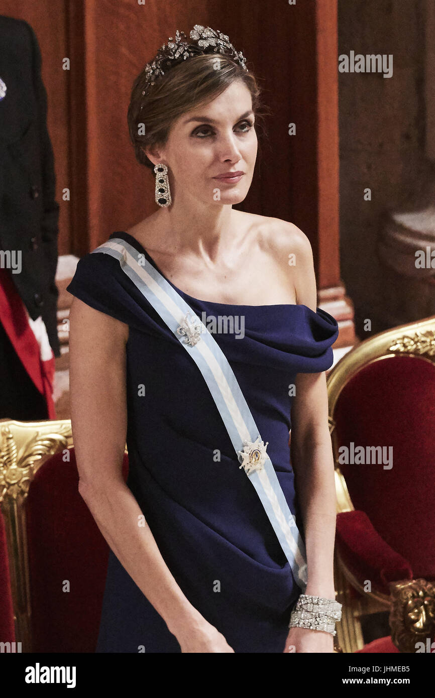 London, UK, Spain. 14th July, 2017. Queen Letizia of Spain attends a Dinner hosted by Sadiq Khan, Mayor of the City - Stock Image