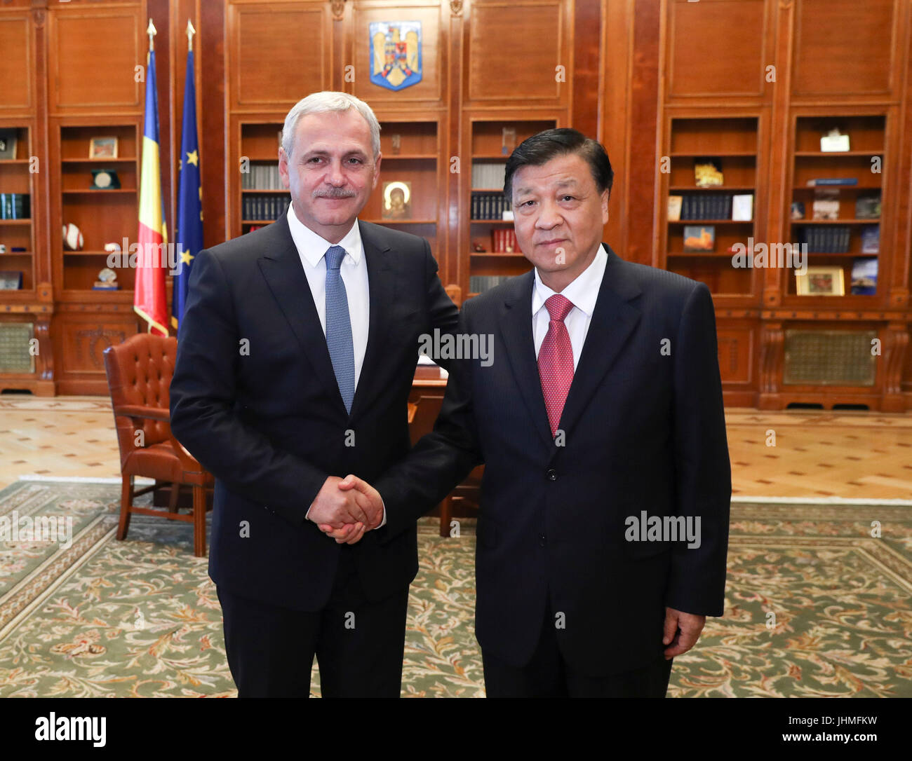Bucharest, Romania. 14th July, 2017. Liu Yunshan (R), a member of the Standing Committee of the Political Bureau - Stock Image