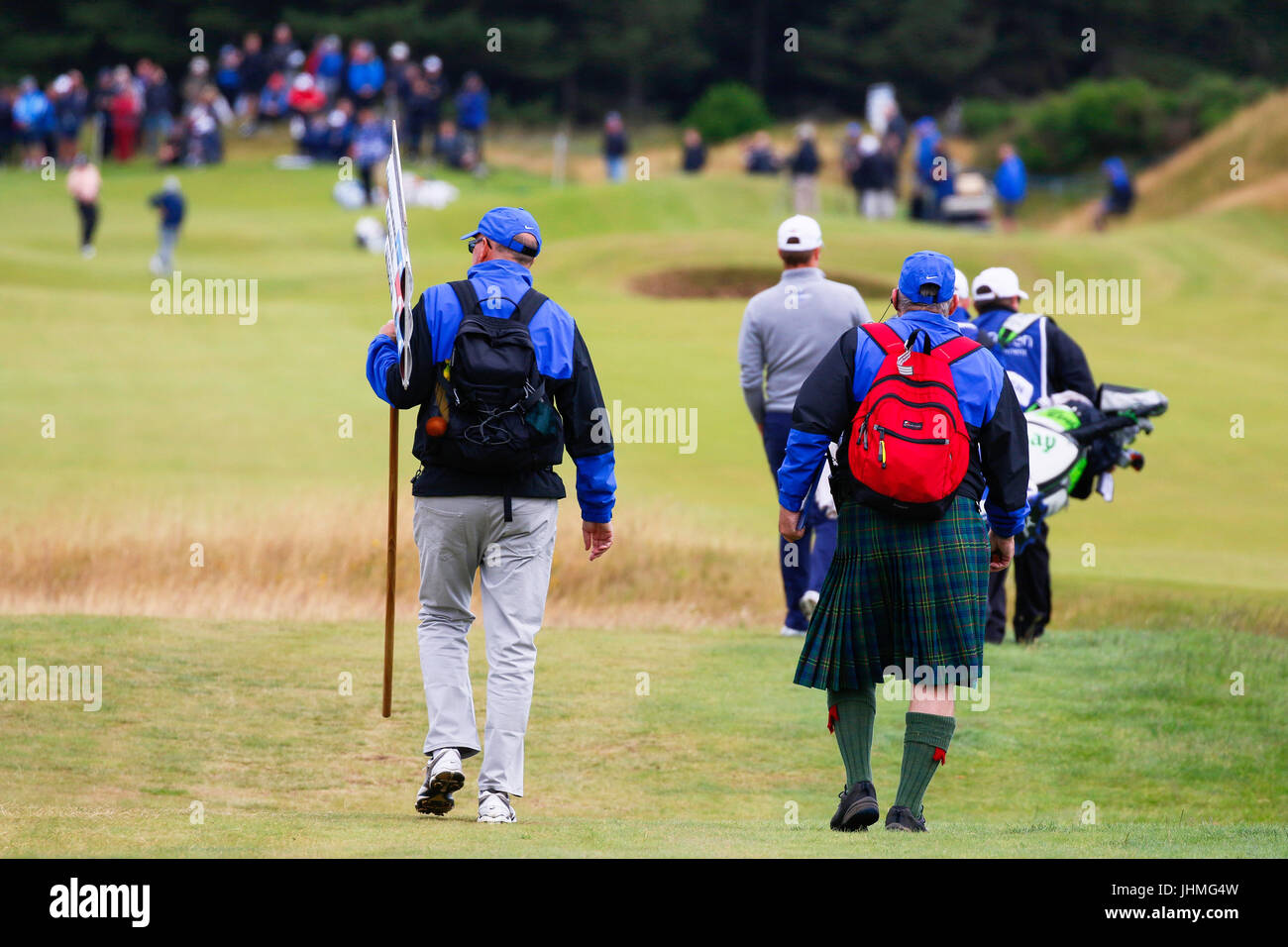Irvine, Scotland, UK. 14th July, 2017. The organisers of The Scottish Open Golf championship declared the second - Stock Image