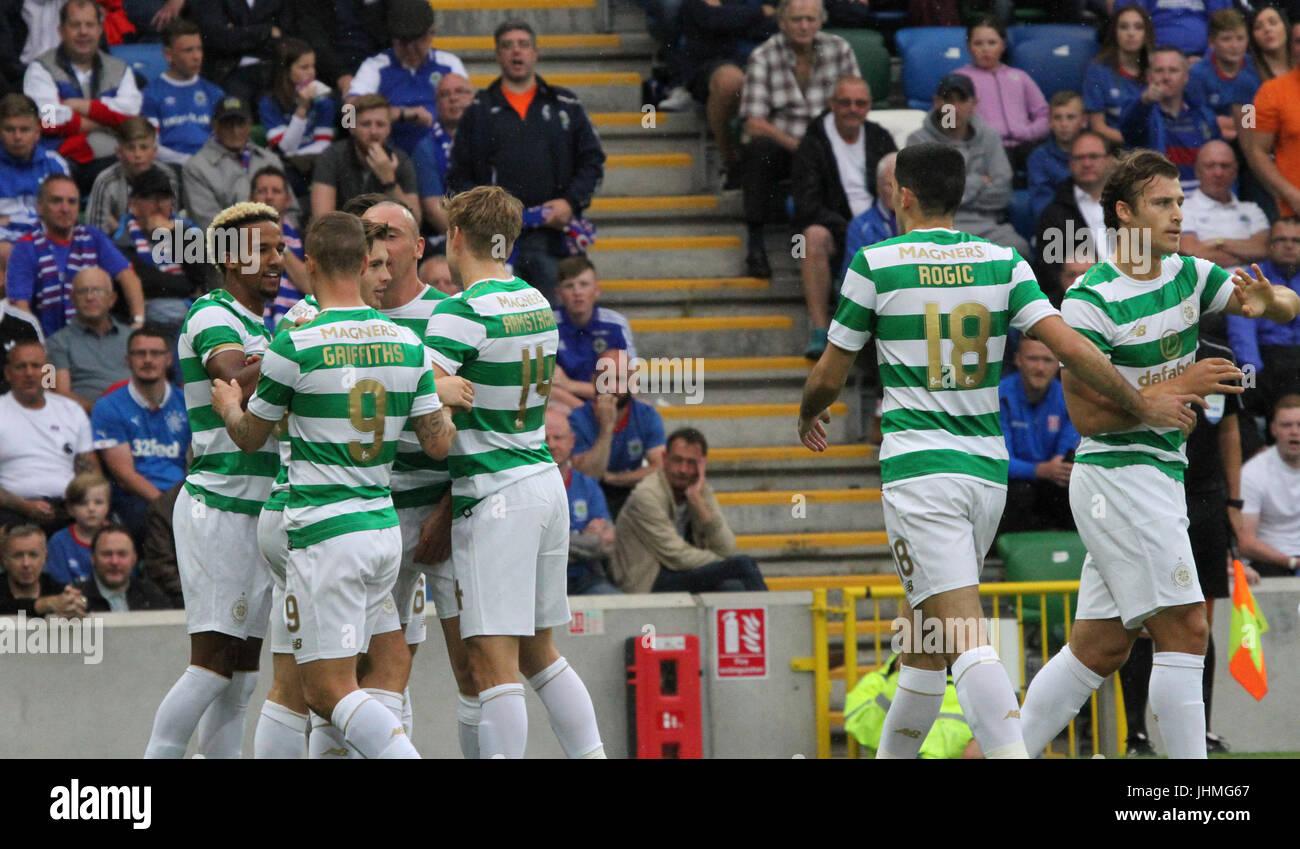 Windsor Park, Belfast, UK. 14 July 2017. Linfield v Celtic (UEFA CL QR2 1st Leg). Scott Sinclair is congratulated - Stock Image
