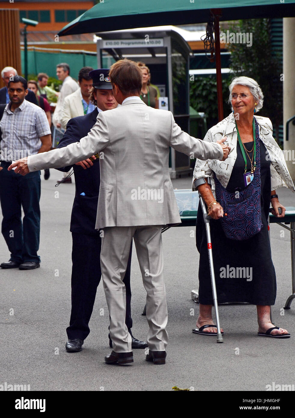 842ce22980232 14th July, 2017. Cliff Richard arriving at AELTC Wimbledon Lawn Tennis  Championships on the second Friday of the tournament goes through security  check.