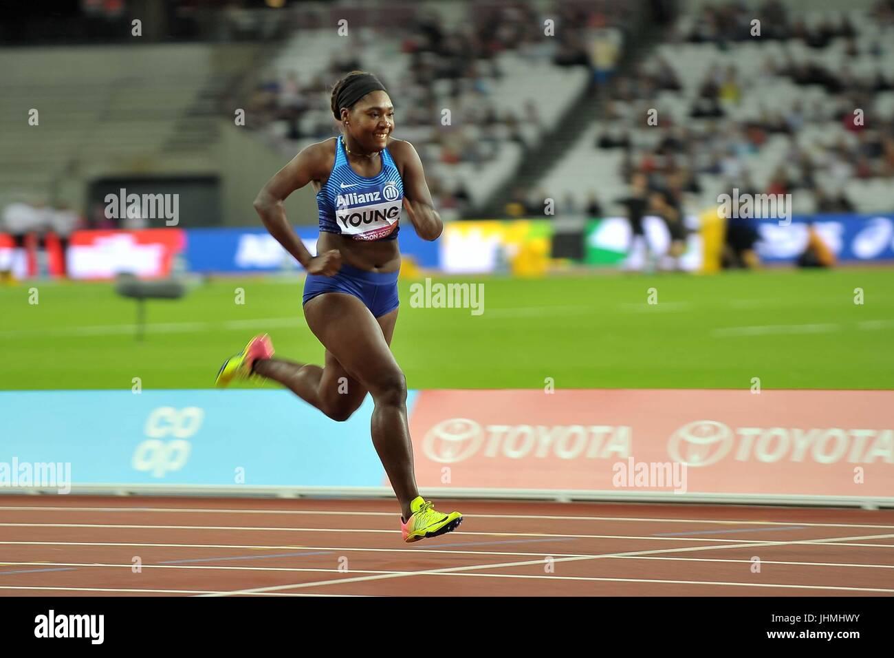Deja Young (USA) wins her heat of the womens 200m T47. World para athletics championships. London Olympic stadium. Stock Photo