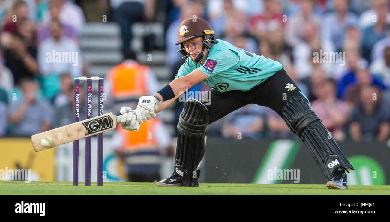 London, UK. 14 July, 2017. Ollie Pope batting for Surrey against Kent in the NatWest T20 Blast match at the Kia Stock Photo