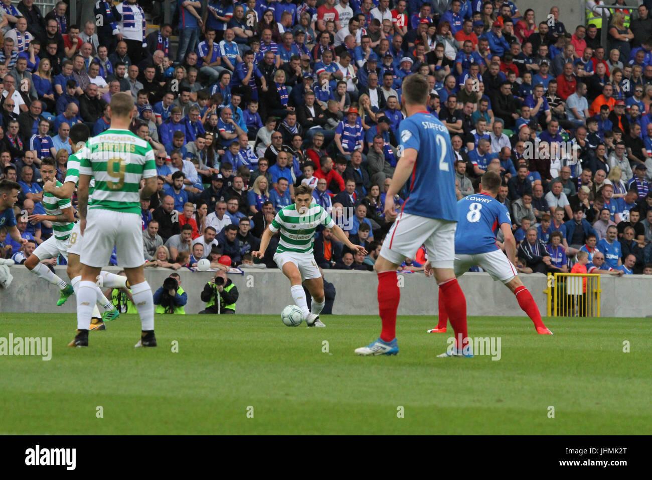 Windsor Park, Belfast, UK. 14 July 2017. Linfield v Celtic (UEFA CL QR2 1st Leg). Celtic's James Forrest on - Stock Image