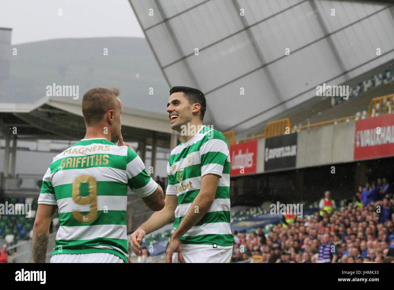 Windsor Park, Belfast, UK. 14 July 2017. Linfield v Celtic (UEFA CL QR2 1st Leg). Celtic's Tom Rogic (right) - Stock Image