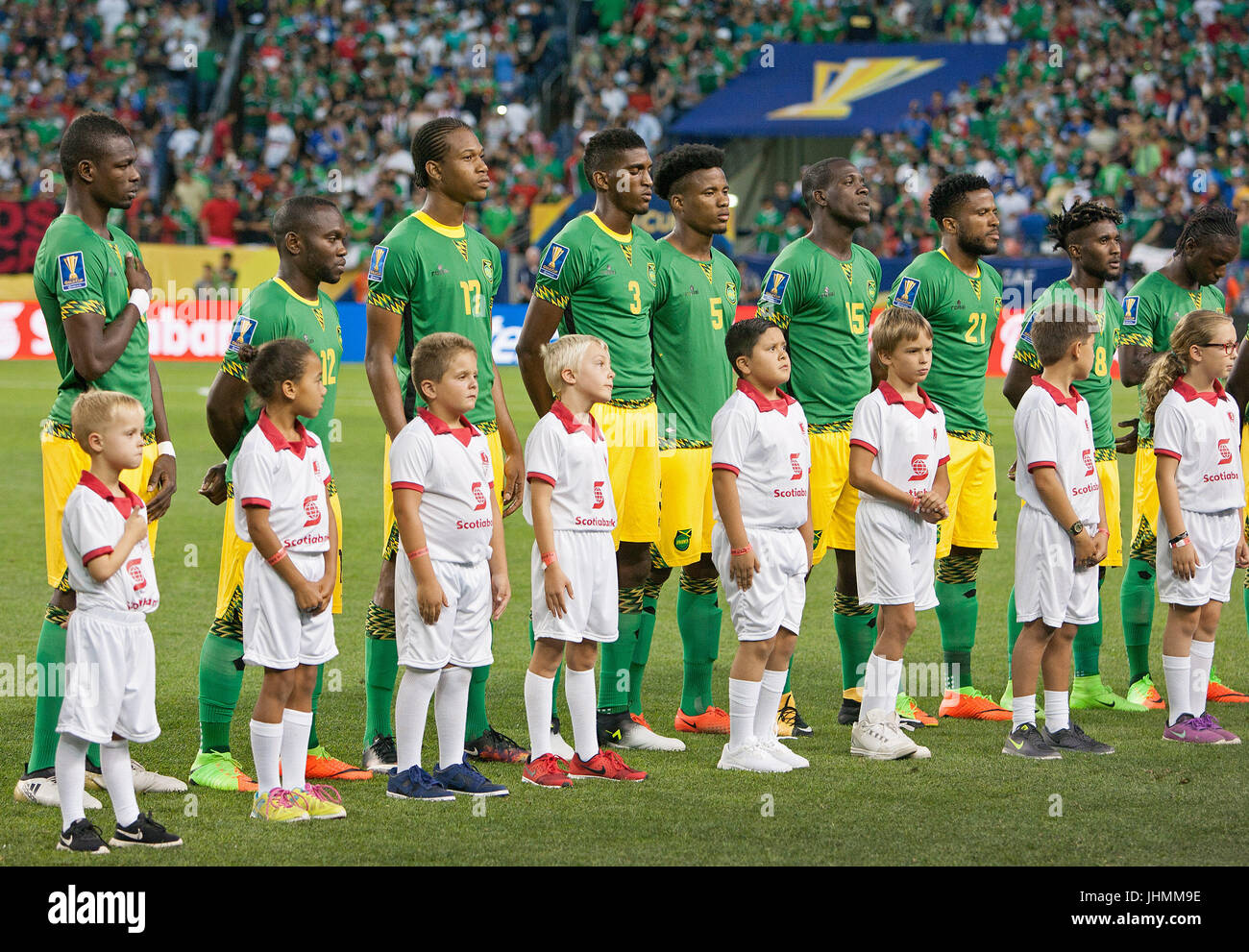 Denver, Colorado, USA. 13th July, 2017. The Jamacian Soccer team stand at attention during the National Anthem at - Stock Image