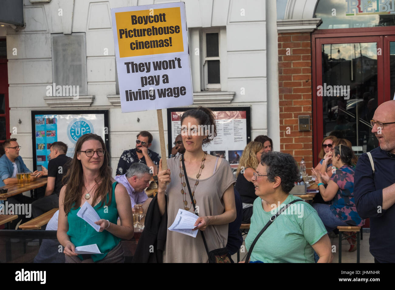July 14, 2017 - London, UK - London, UK. 14th July 2017. A community protestby local cinema-goers outside Brixton's Stock Photo