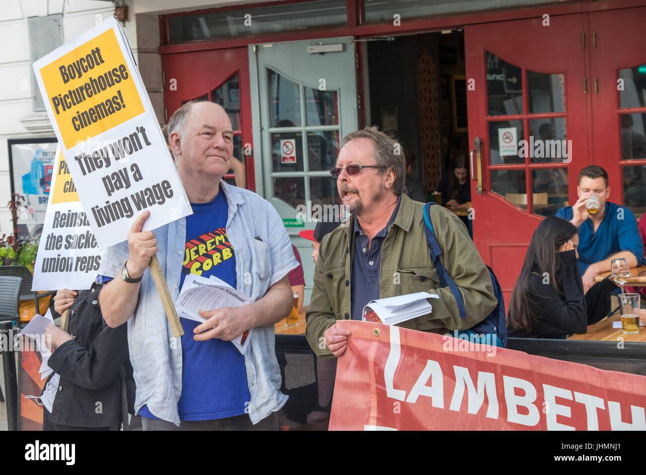 July 14, 2017 - London, UK - London, UK. 14th July 2017. A community protestby local cinema-goers outside Brixton's Stock Photo