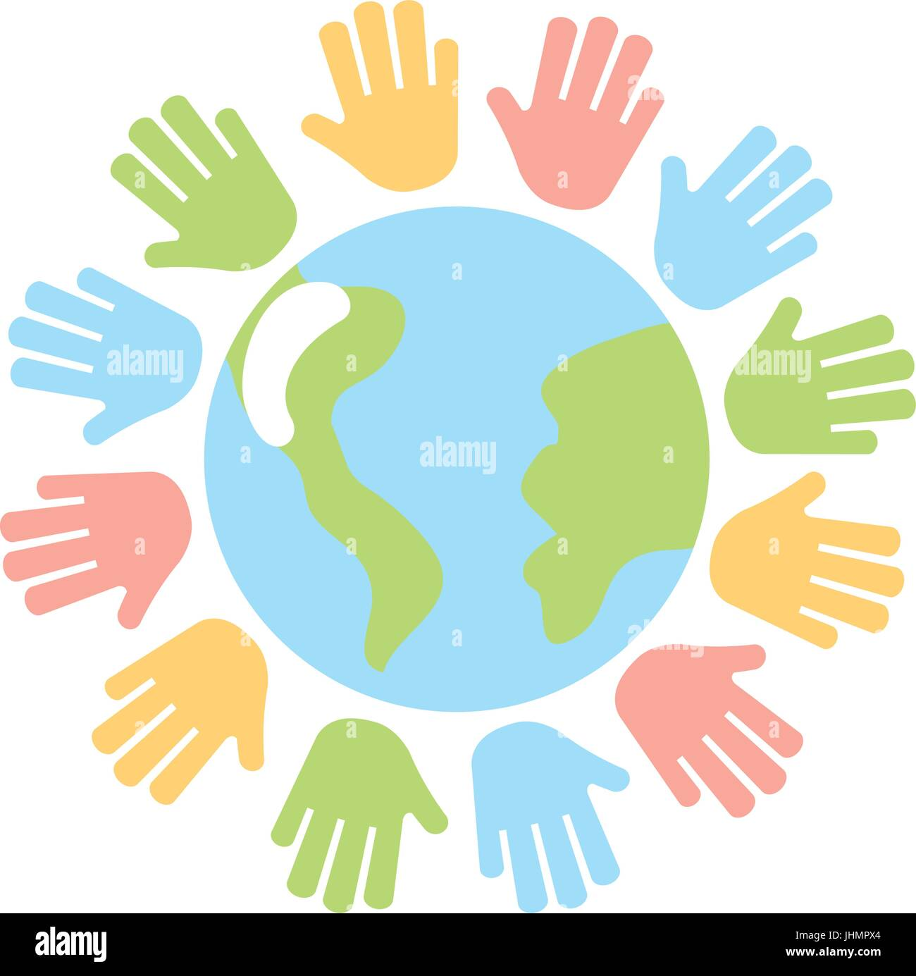 hands human with world planet earth icon - Stock Image