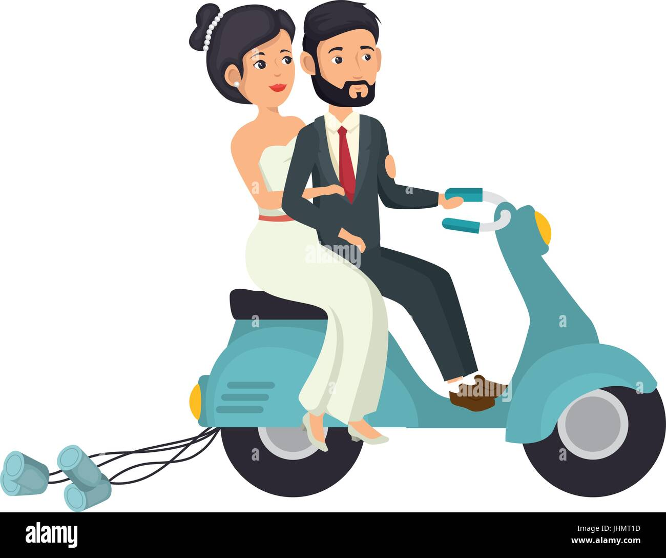 Motorcycle With Just Married Couple Icon Over White