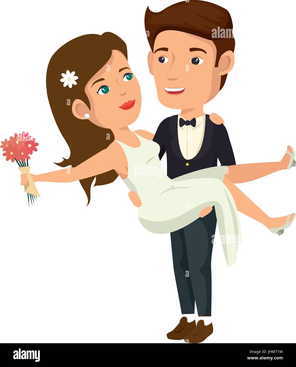 Cartoon Happy Wedding Couple Icon Over White Background
