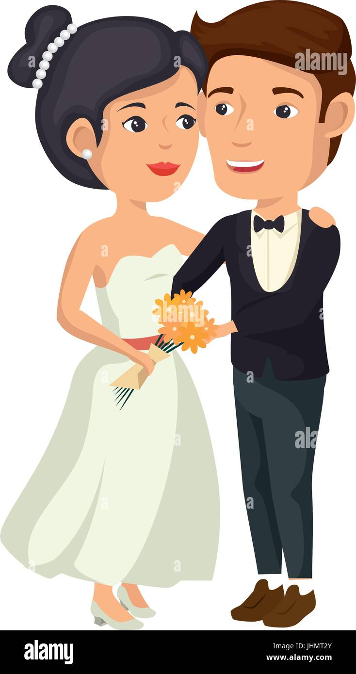 Cartoon Happy Wedding Couple Icon Over White Background Vector Stock Vector Image Art Alamy
