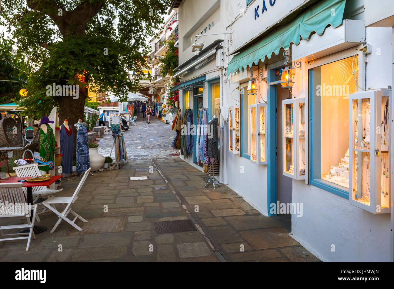 Traditional architecture with shop in Skopelos town, Greece. - Stock Image