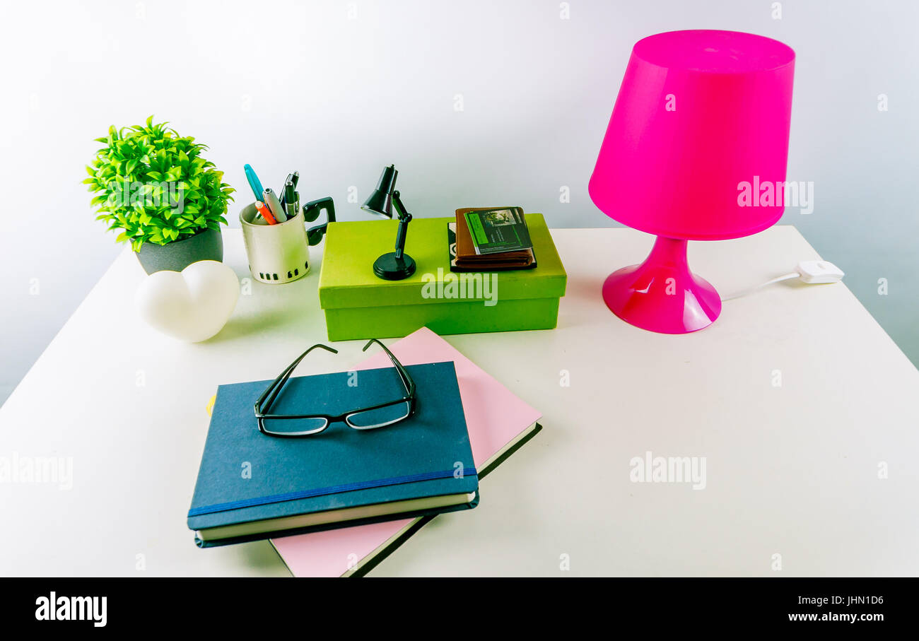 Working from home. Modern white office desk with accessories Stock ...