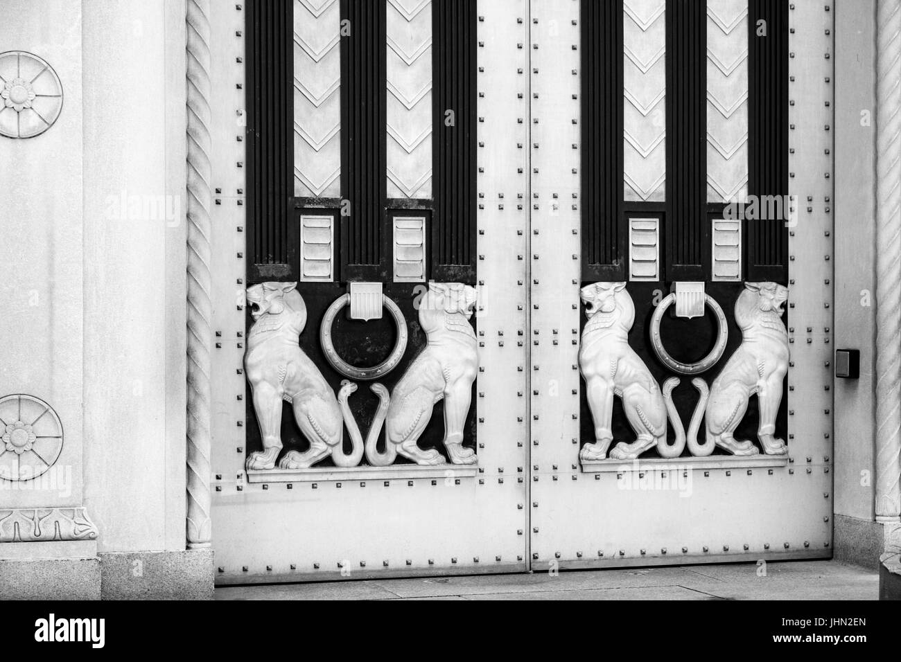 Deco style doors on the Department of Justice building - Stock Image