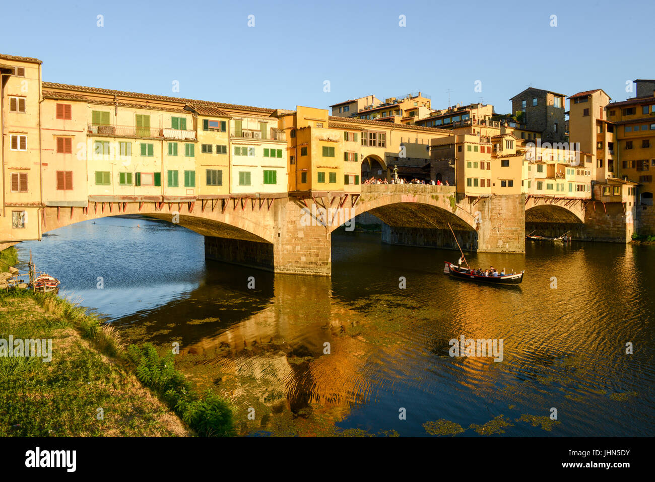 Firenze, Italy - 5 July 2017: Famous bridge of Ponte Vecchio in Florence on Italy. - Stock Image