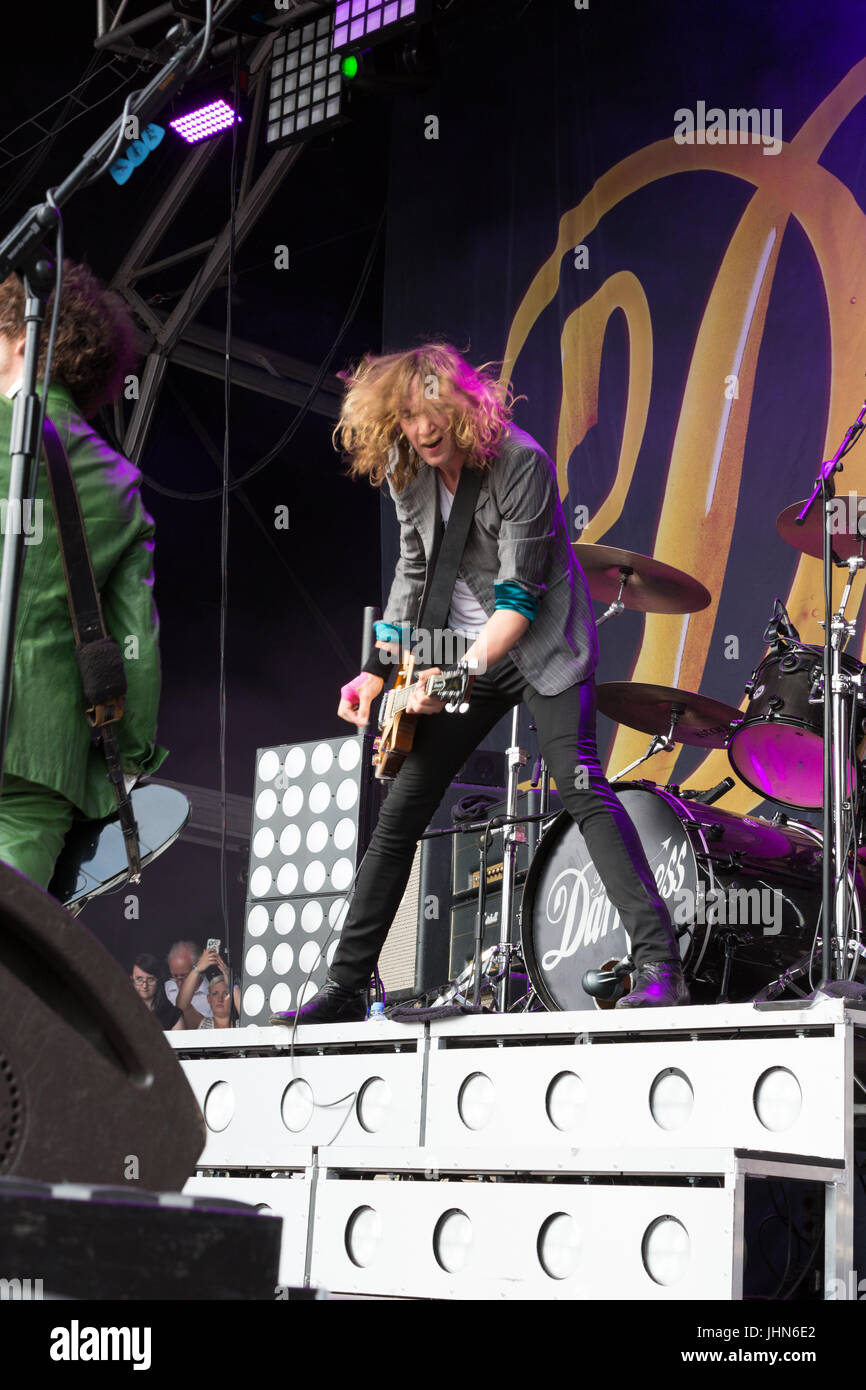 The Darkness headline at Coventry's Godiva Festival in July 2017 - Stock Image