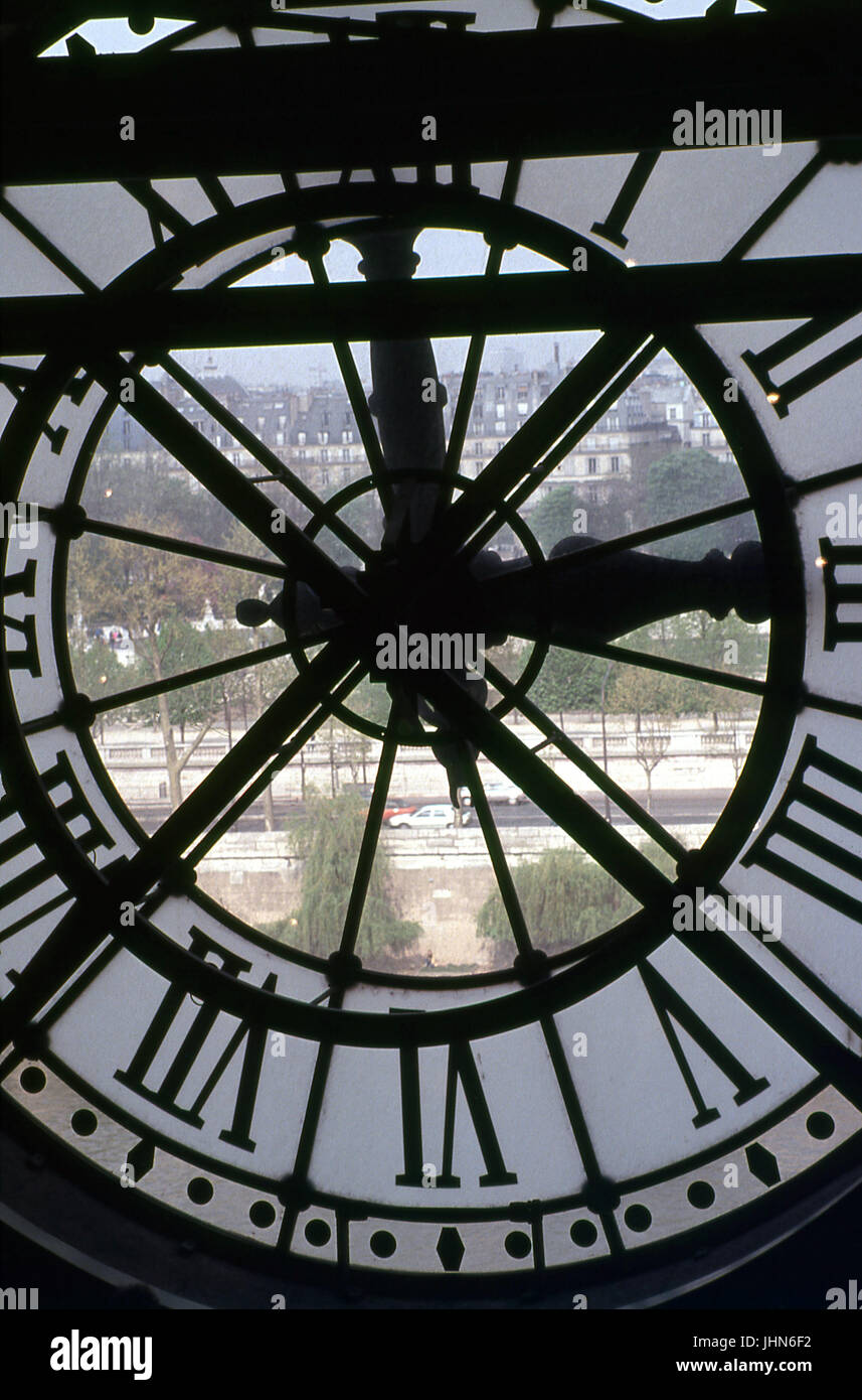Clock; Stained Glass; Musee D'orsay; Paris France - Stock Image