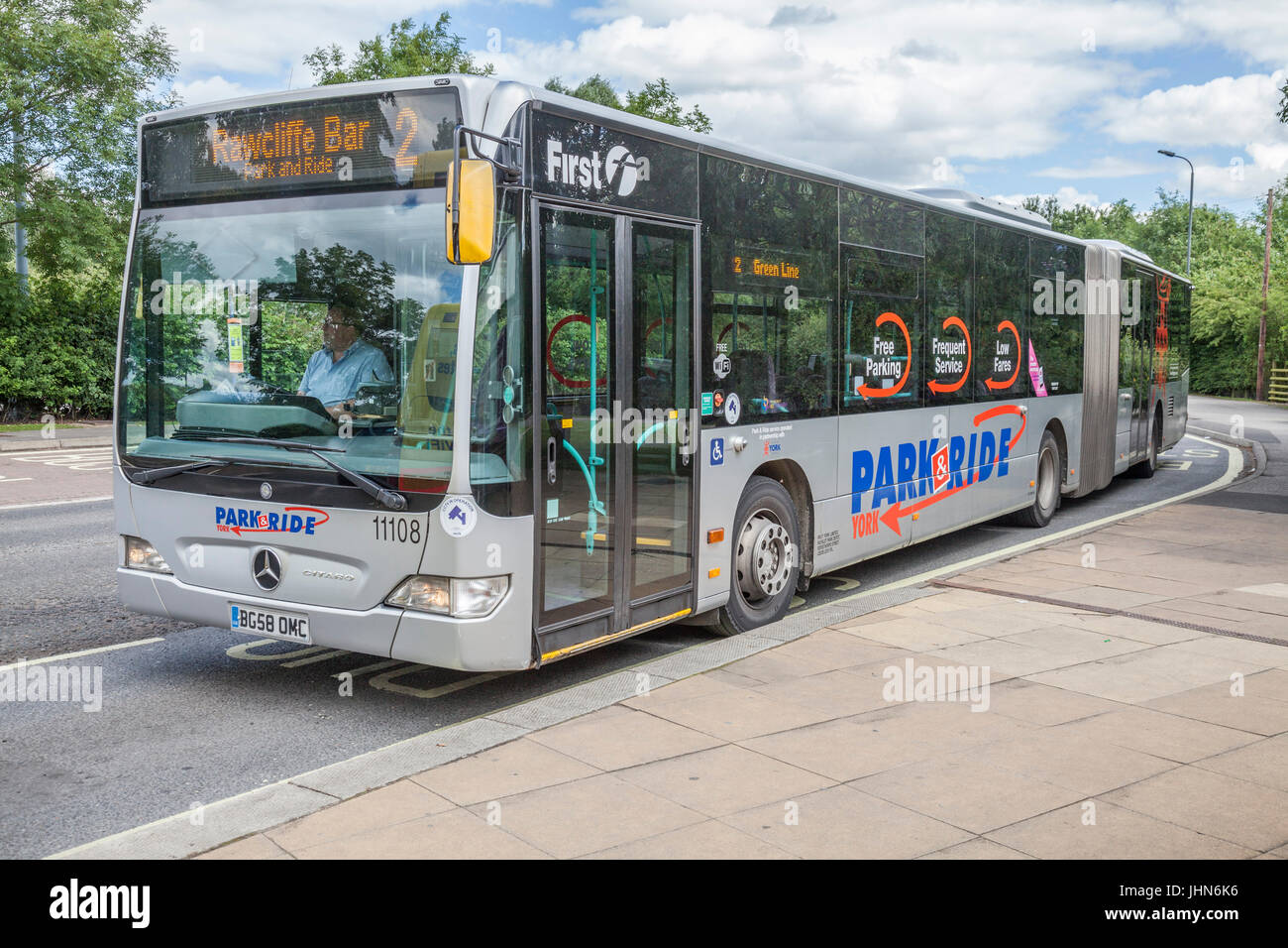 Buses parked up at the Park and Ride at Rawcliffe Bar, York,England,UK - Stock Image
