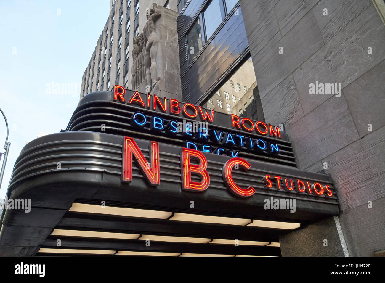sign for nbc studios and the rainbow room observation deck comcast building New York City USA - Stock Image