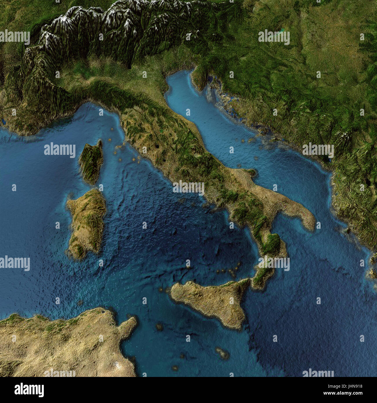 Italy 3d map - Stock Image