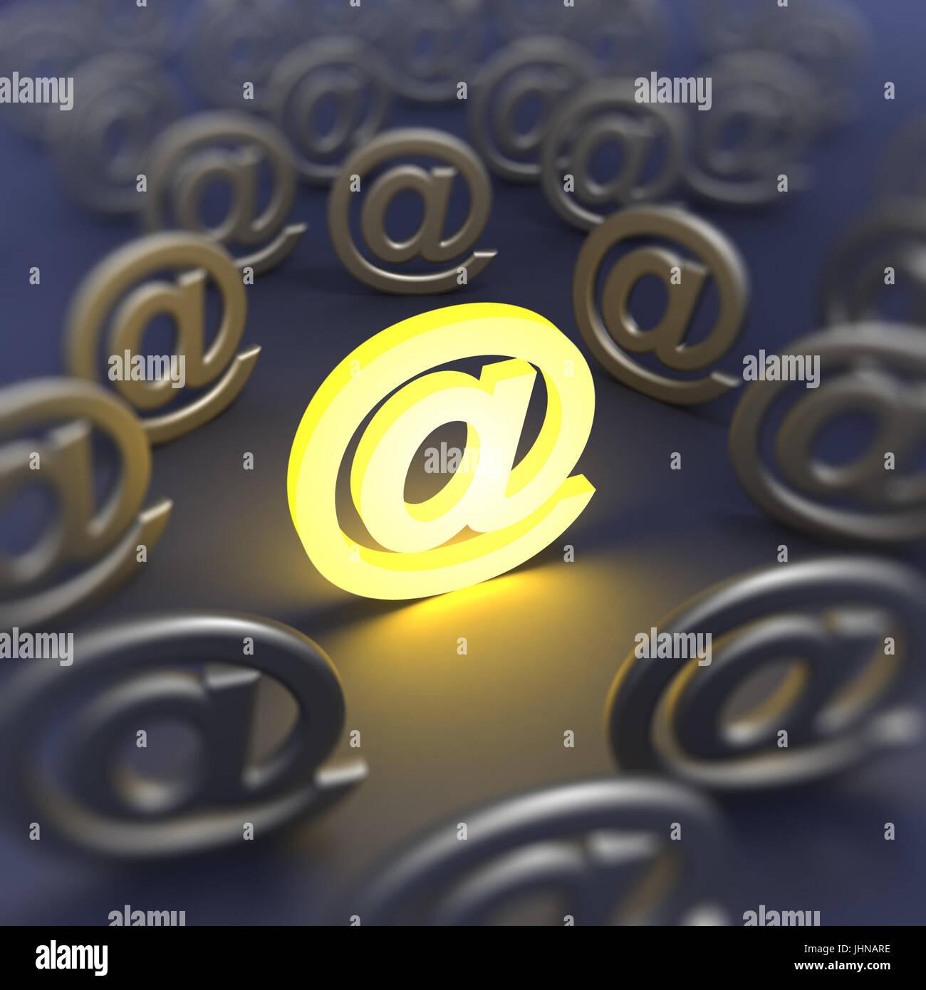 e-mail sign defocused - Stock Image