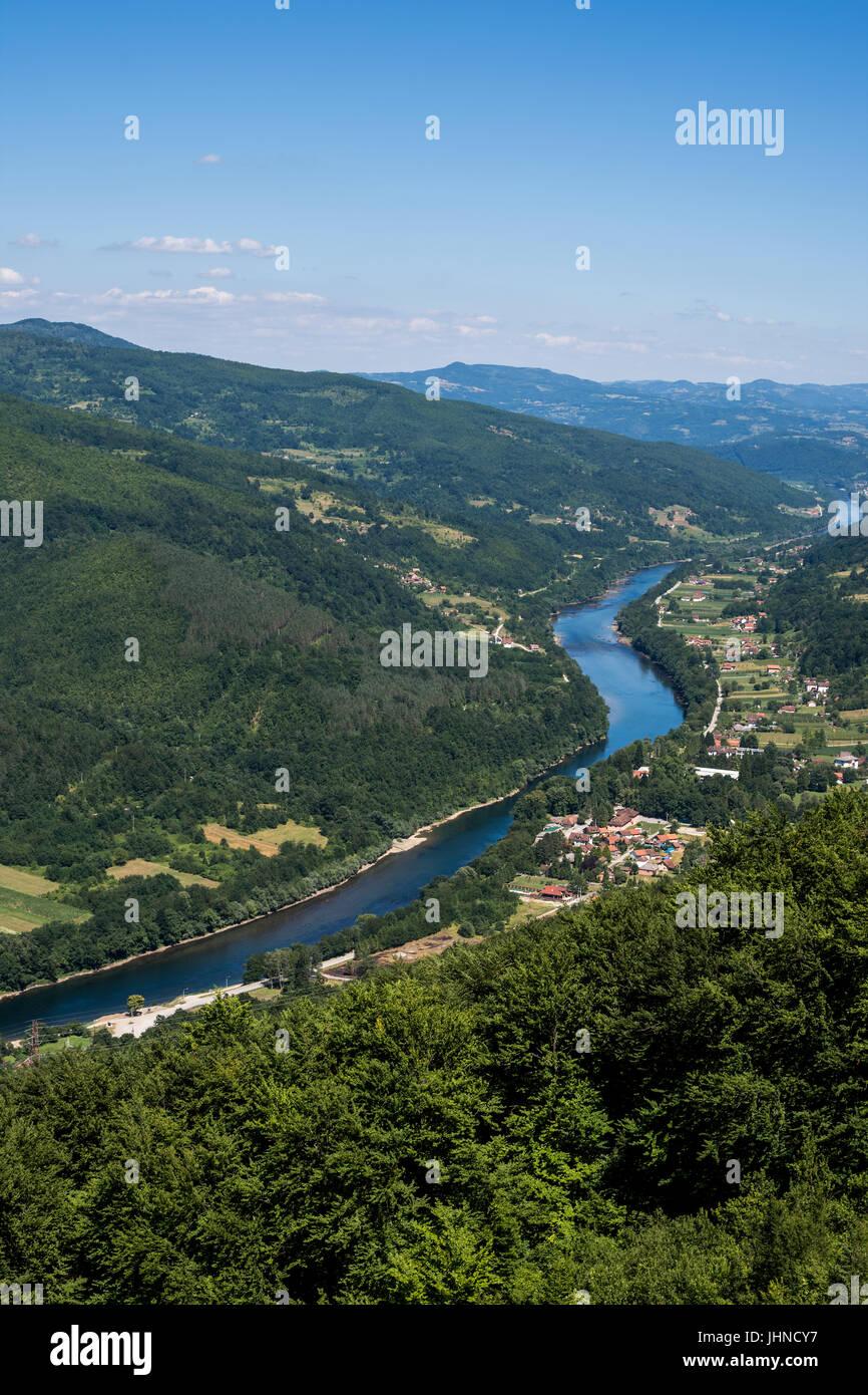 River Drina in the Valley of Tara Mountain Stock Photo