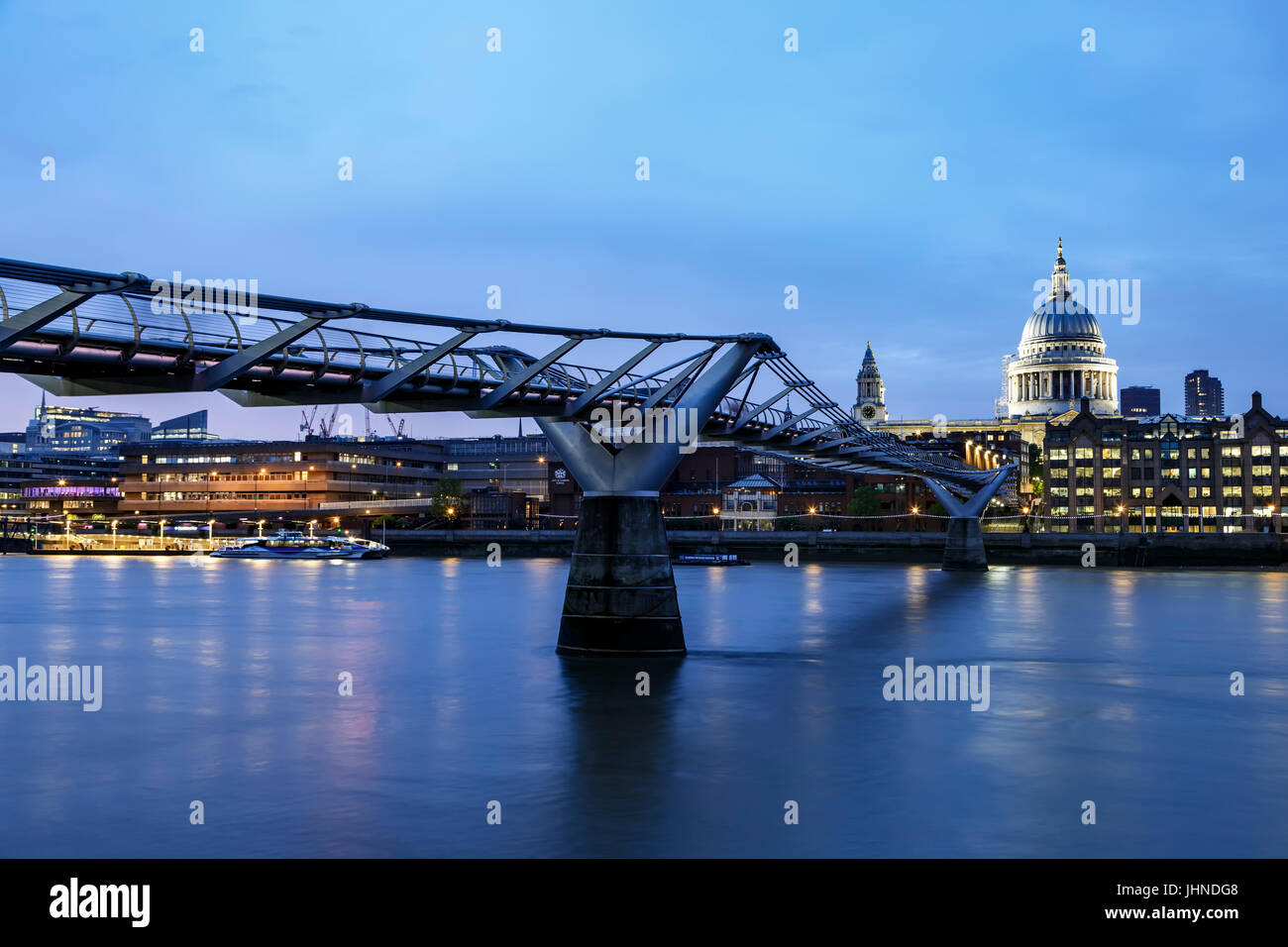 St. Paul's Cathedral, Millennium Bridge and River Thames, London, England, United Kingdom - Stock Image