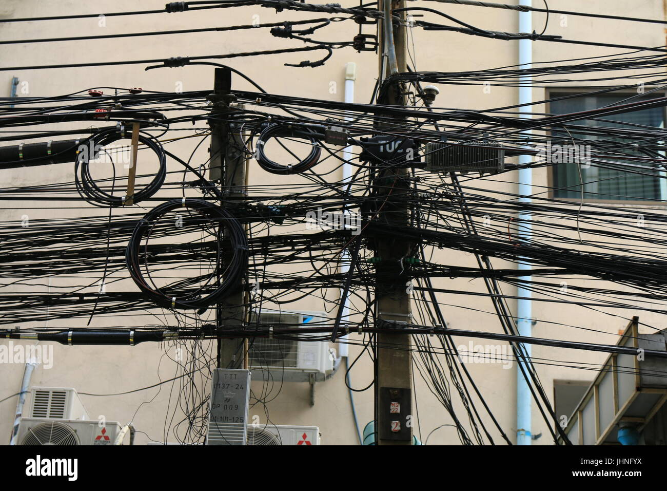 Dodgy Wiring Stock Photos Images Alamy Electrical Is This 2 Way Light Switch Wired Dangerously Home Bangkok Koh San Road Image