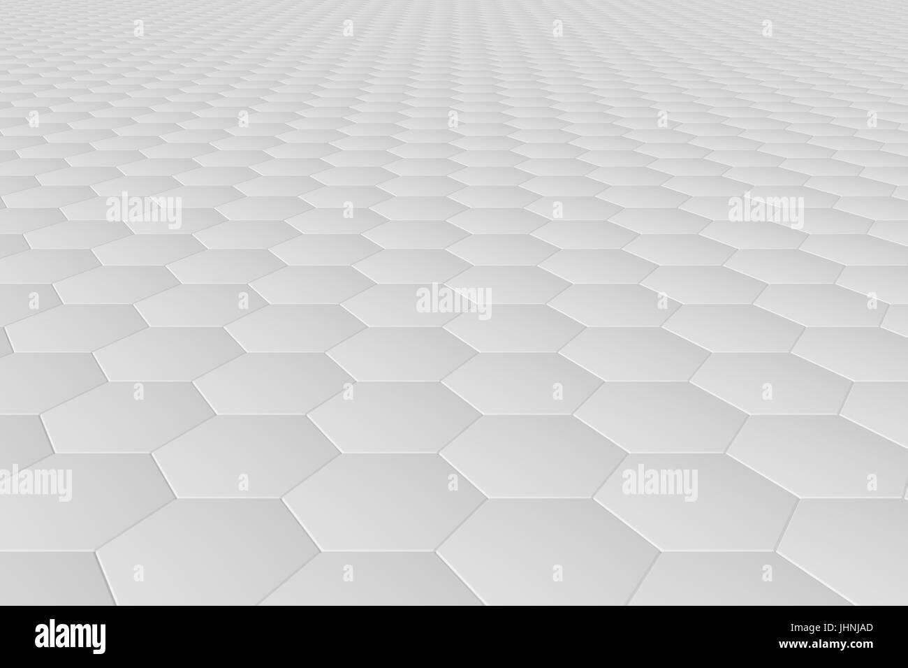 White monochrome hexagon tiles abstract background - Stock Image