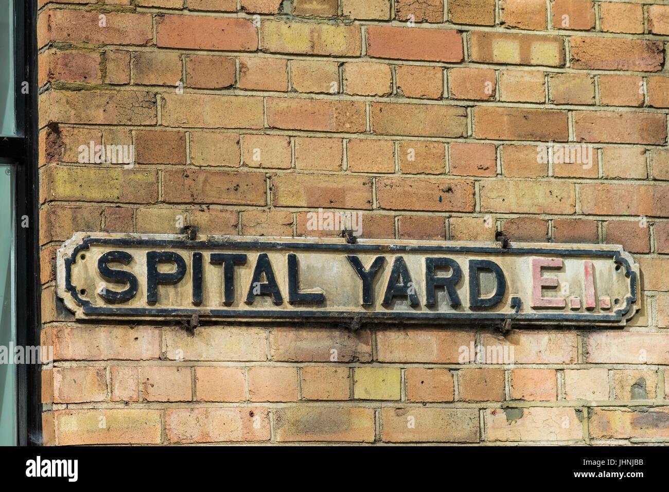 Spital Yard street sign, Borough of Tower Hamlets, London, England, U.K. Stock Photo