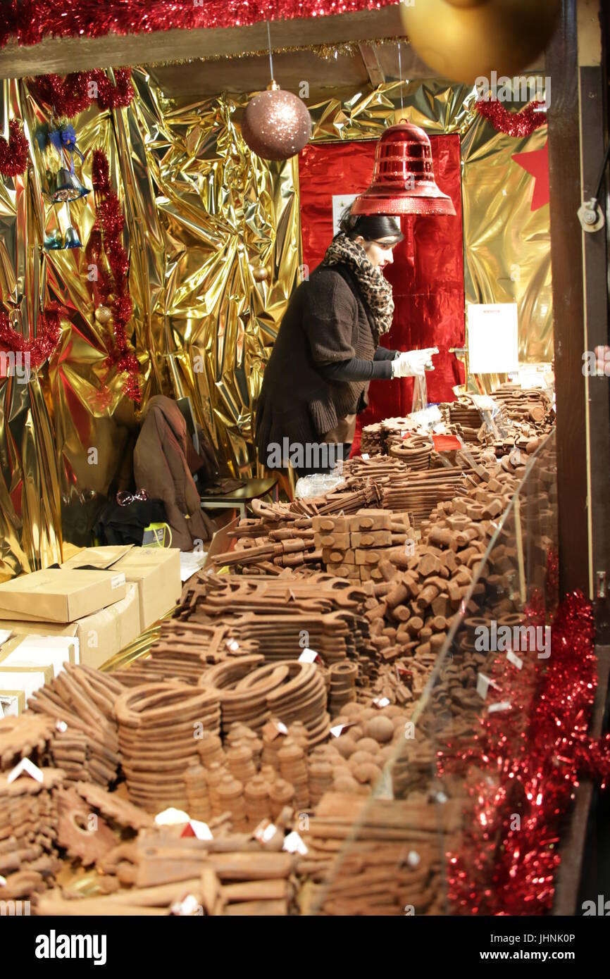 Berlin, Germany: Christmas stand with chocolate decoration Stock Photo
