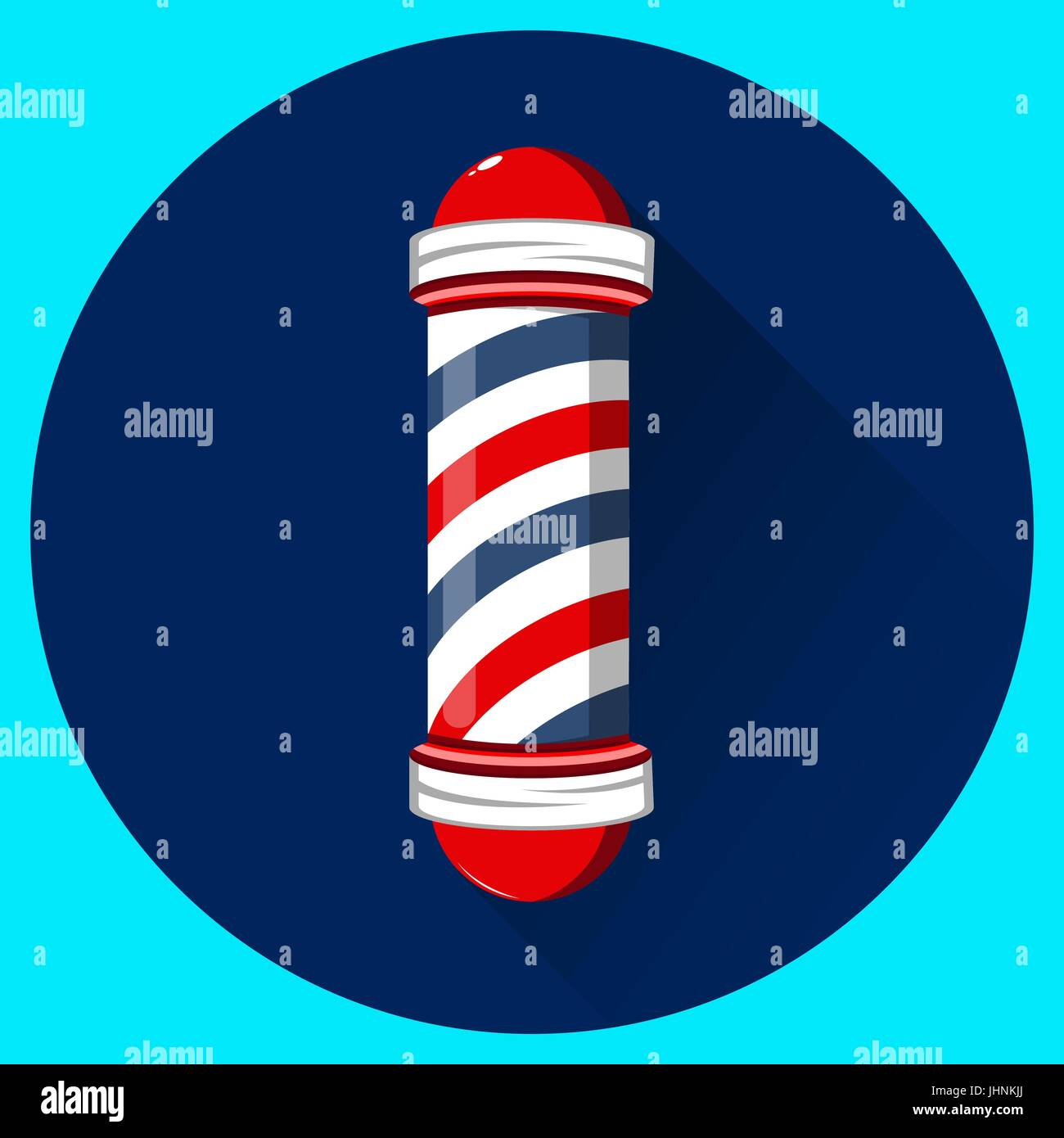 Old Fashioned Vintage Barber Shop Pole With Red Blue And White Stripes Vector Flat Illustration