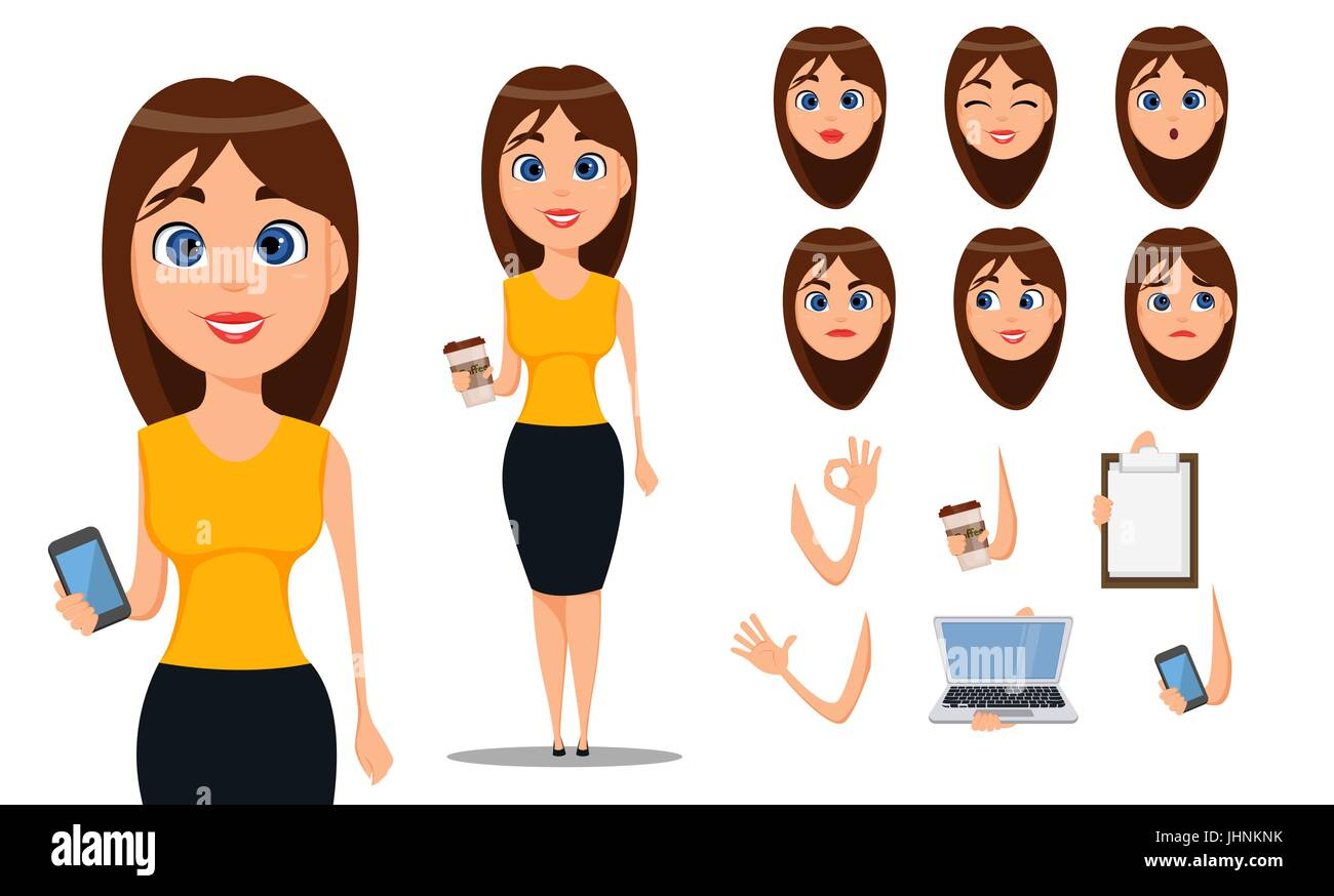 Business Woman Cartoon Character Creation Set Young Attractive Stock Vector Image Art Alamy