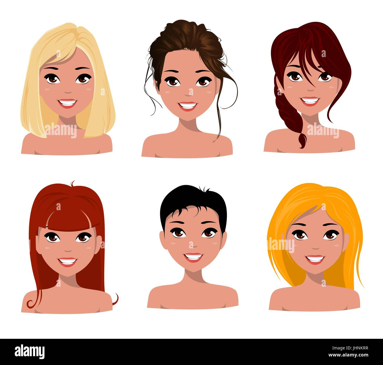 Young Pretty Women Pretty Faces With Different Hairstyles Cartoon