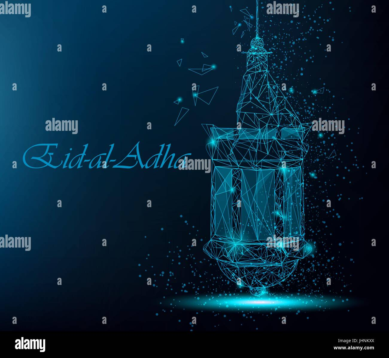 Eid al adha beautiful greeting card with traditional arabic lantern eid al adha beautiful greeting card with traditional arabic lantern polygonal art on blue background stock vector m4hsunfo
