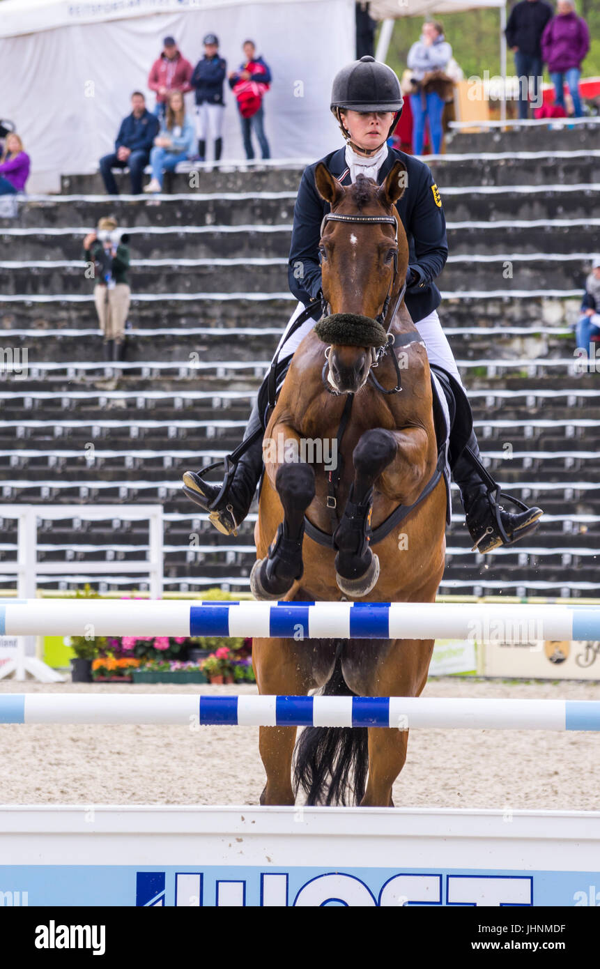 Kari Ingrid Gunzenhäuser on Sewarion, show jumping of the CIC 3* competition at the International Marbach Eventing Stock Photo