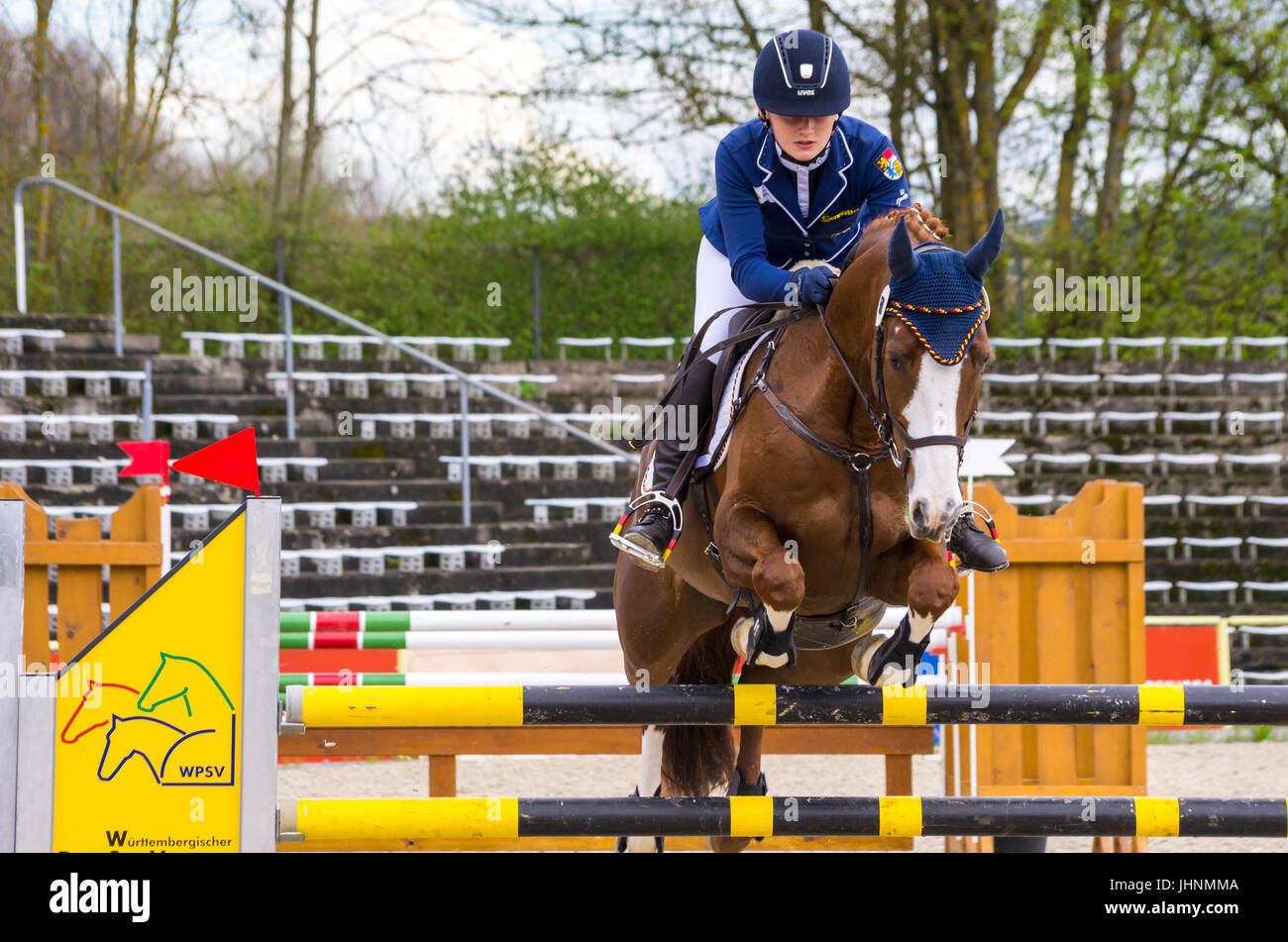 Tina Krüger on Dolce Mia, show jumping of the CIC 3* competition at the International Marbach Eventing 2017, Marbach, Stock Photo