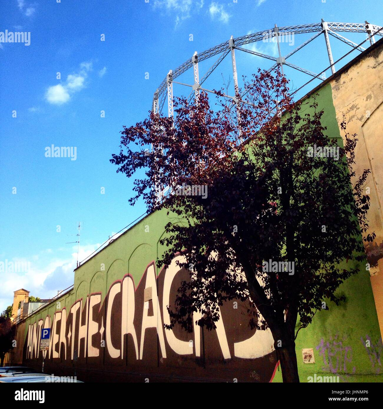 Street art and Gazometro, Ostiense quarter, Rome, Italy    Credit © Anna Retico/Sintesi/Alamy Stock Photo *** - Stock Image