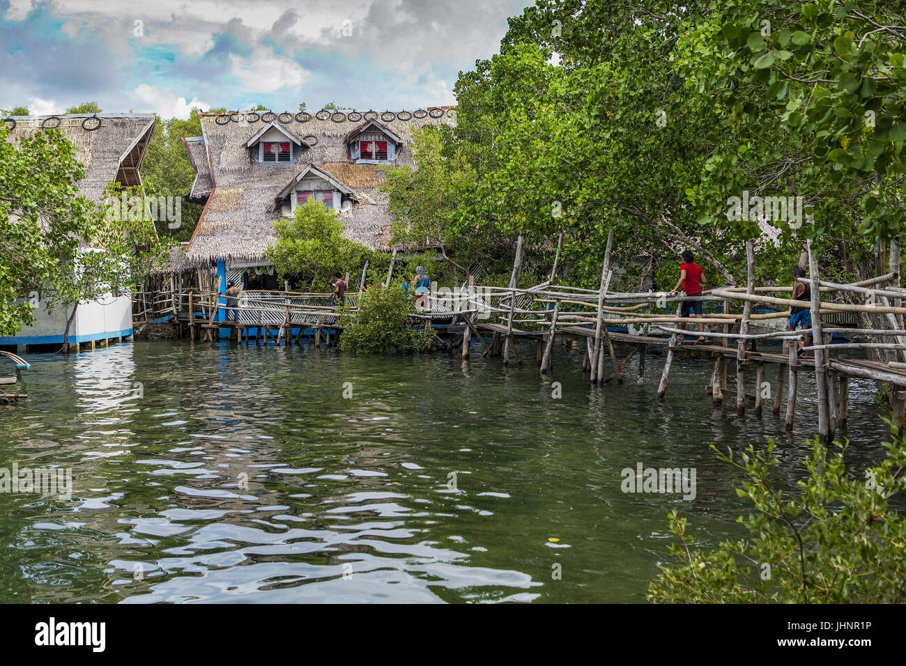 Footbridge across open water in a mangrove forest leads to a traditional thatch-roofed Filipino home. - Stock Image