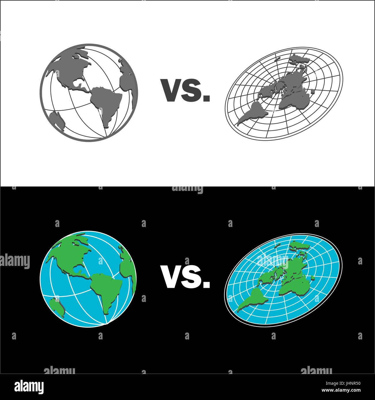 Official Flat Earth Map.Flat Earth Vs Sphere Earth Map Isolated Vector Illustration Stock