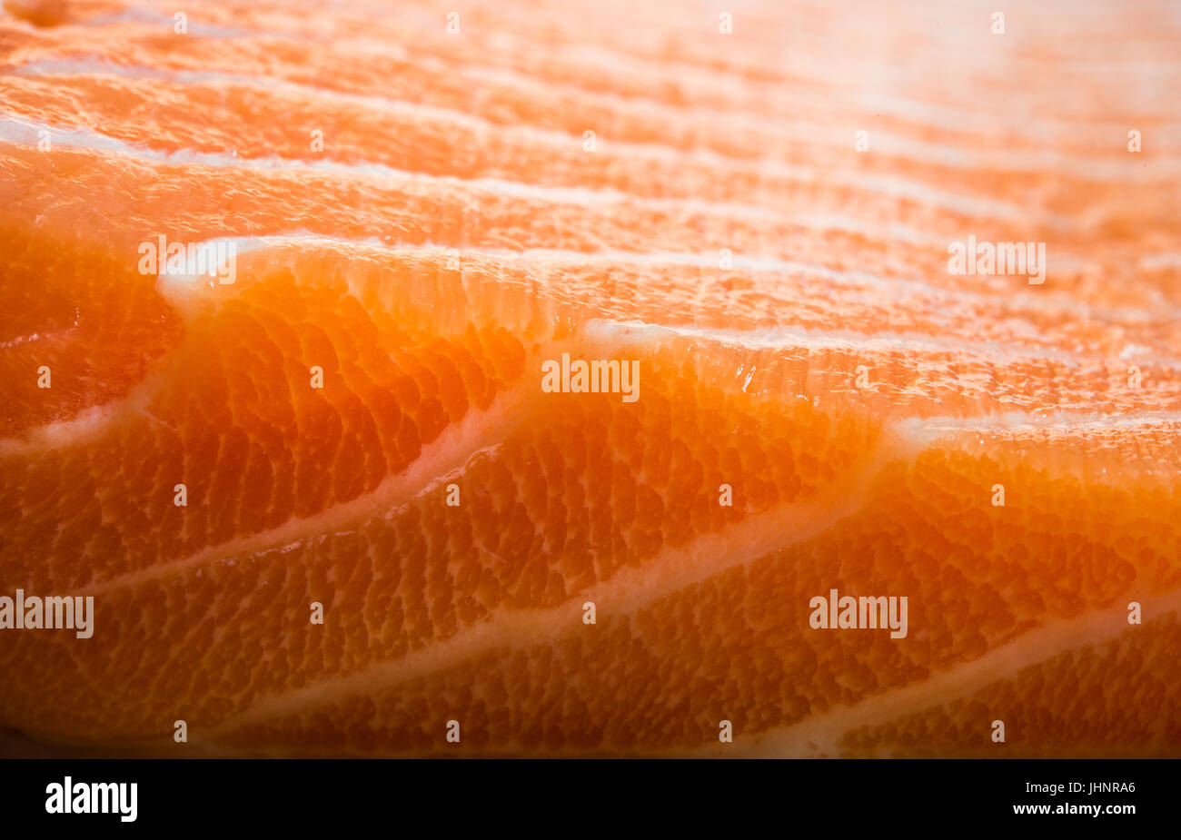on the photo close up fish fillets salmon - Stock Image