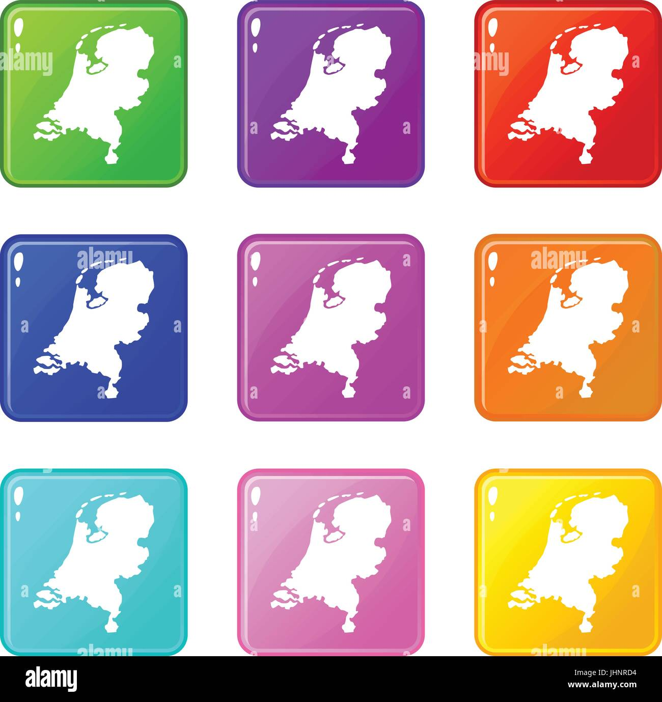 Holland map icons 9 set - Stock Vector
