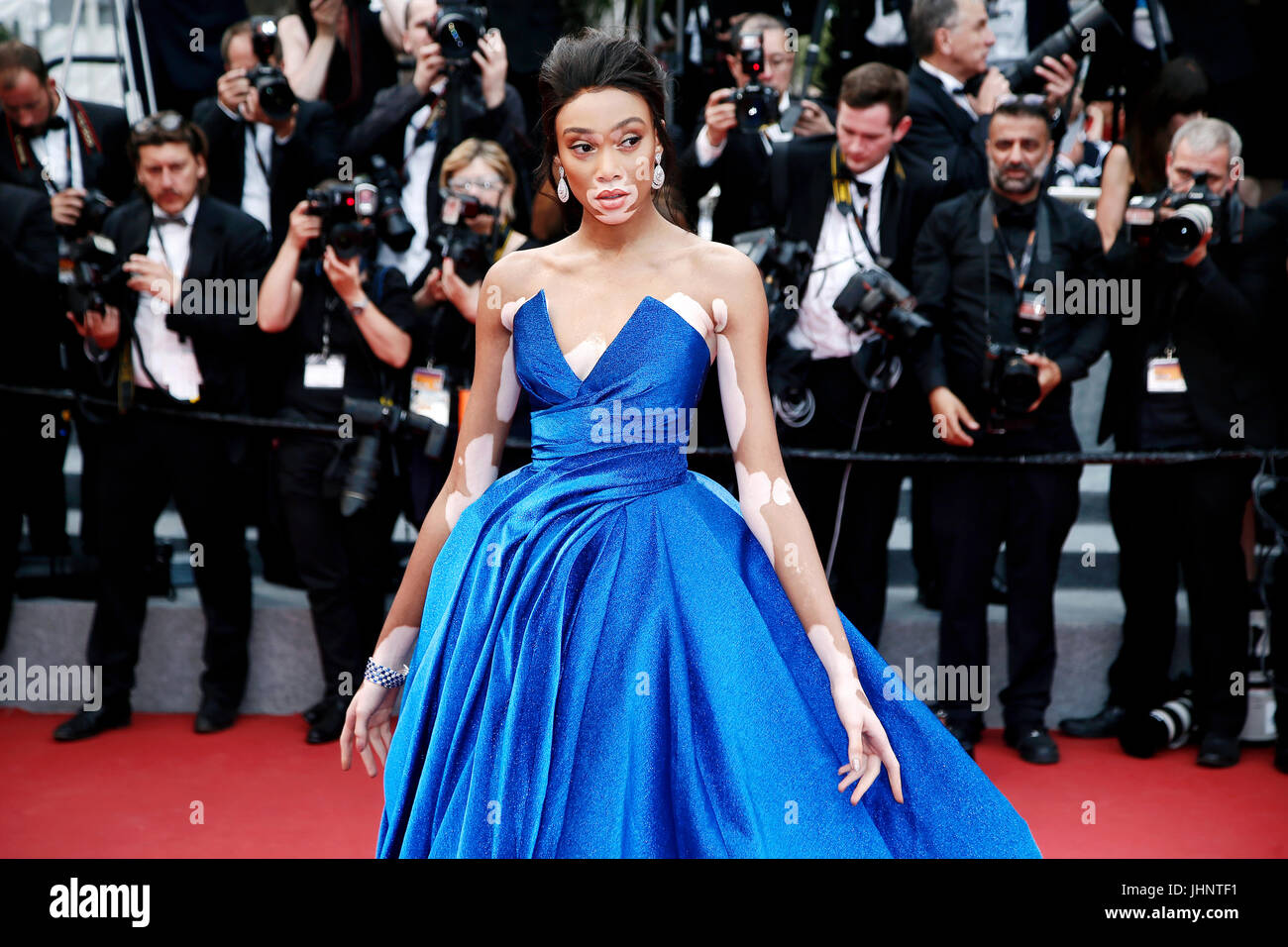 CANNES, FRANCE - MAY 18: Winnie Harlow attends the 'Loveless' premiere during the 70th Cannes Film Festival - Stock Image