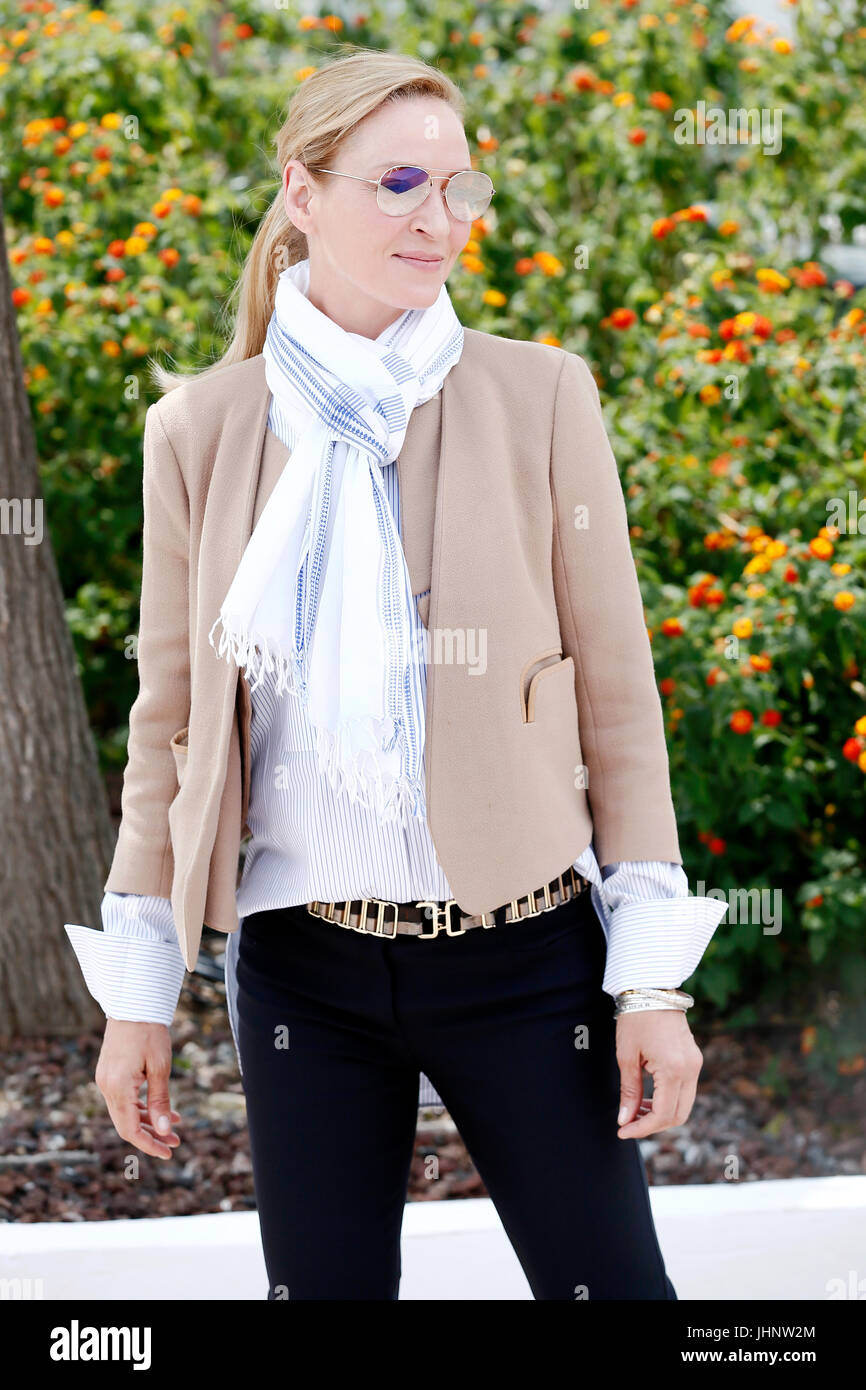 CANNES, FRANCE - MAY 18: Uma Thurman attends the photo-call of the Jury 'Un Certain Regard' during the 70th - Stock Image