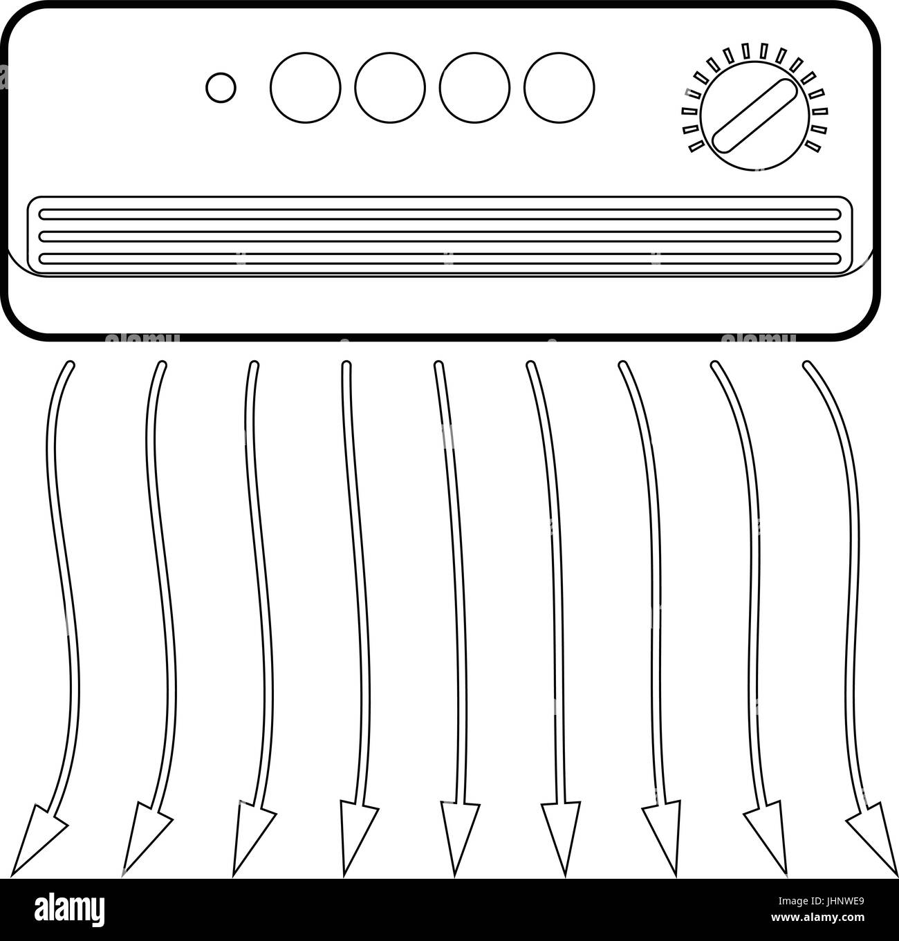 Wall heater icon, outline style Stock Vector
