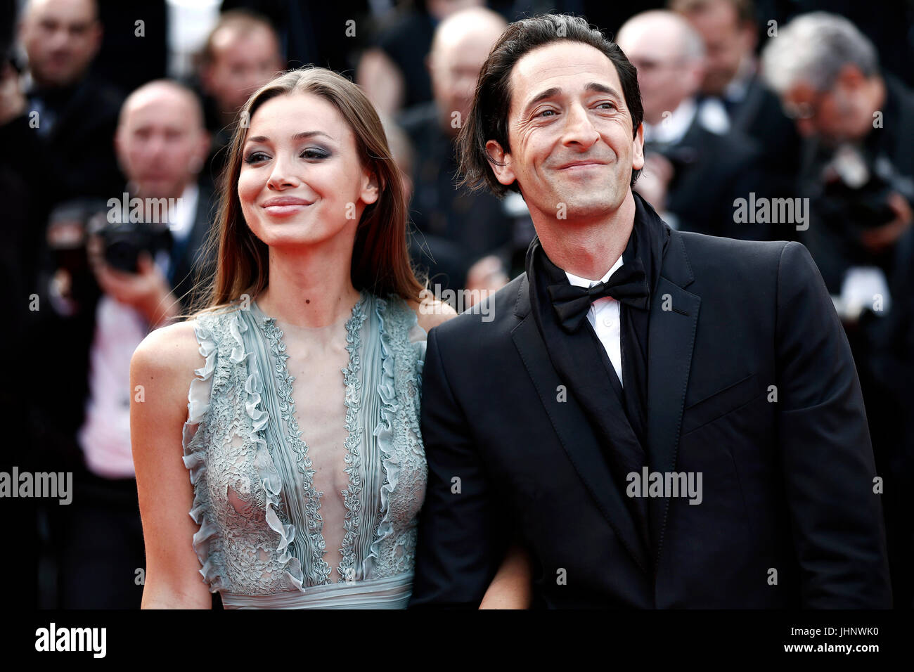 CANNES, FRANCE - MAY 23: Adrien Brody and Lara Lieto attend the 70th Anniversary of the 70th Cannes Film Festival - Stock Image